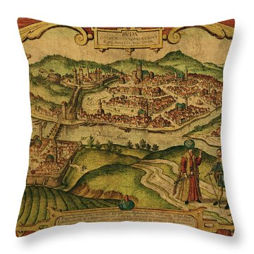 Vintage Map Of Budapest Hungary 1672 Throw Pillow