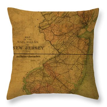 Vintage Map Of New Jersey 1887 Throw Pillow