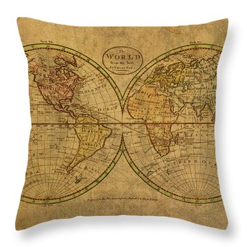 Vintage Map Of The World 1798 Throw Pillow