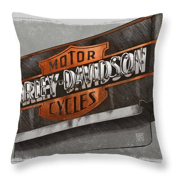 Vintage Motorcycle Shop Throw Pillow