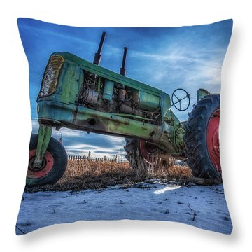 Vintage Oliver Tractor In Winter Throw Pillow