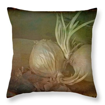Throw Pillow featuring the mixed media Vintage Onions 3 by Lynda Lehmann