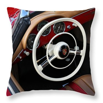 Throw Pillow featuring the photograph Vintage Red Convertible Interior by Debi Dalio