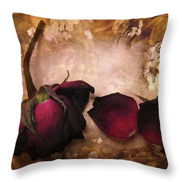 Vintage Rose Petals Throw Pillow
