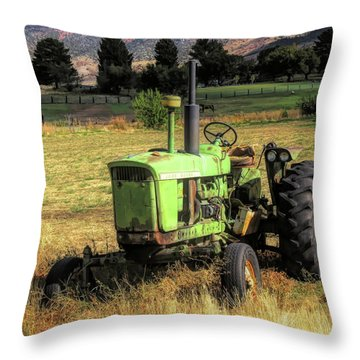 Vintage Tractor In Honeyville Throw Pillow