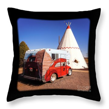 Vintage Volkswagon Beatle Camper  Throw Pillow