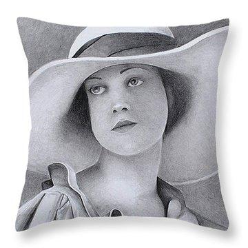 Vintage Woman In Brim Hat Throw Pillow