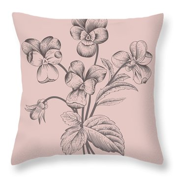 Violet Blush Pink Flower Throw Pillow
