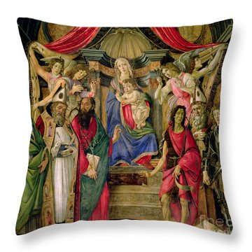 Virgin And Child With Saints From The Altarpiece Of San Barnabas, Throw Pillow