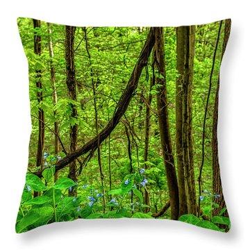 Virginia Bluebells And Tree Trunks Throw Pillow