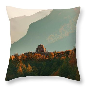 Throw Pillow featuring the photograph Vista House by Dheeraj Mutha