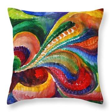 Vivid Abstract Watercolor Throw Pillow