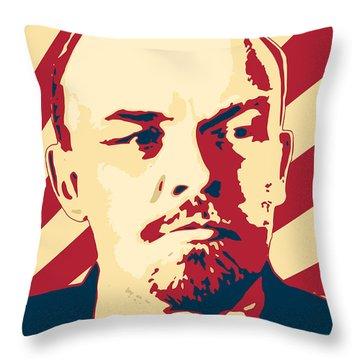 Vladimir Lenin Retro Propaganda Throw Pillow