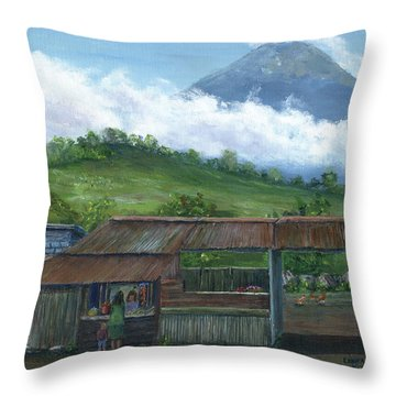 Volcano Agua, Guatemala, With Fruit Stand Throw Pillow