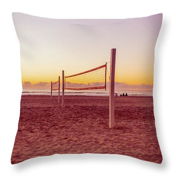 Volleyball Nets Sunset On Mission Beach Throw Pillow
