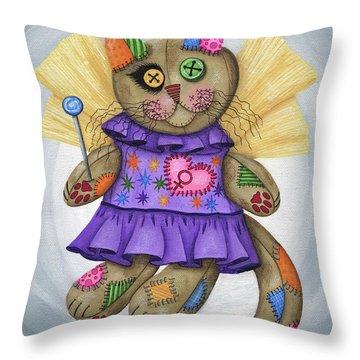 Voodoo Empress Fairy Cat Doll - Patchwork Cat Throw Pillow
