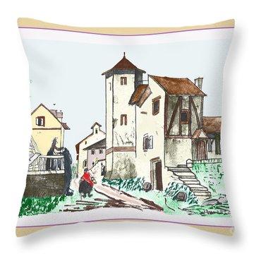 Walk Through Town Throw Pillow