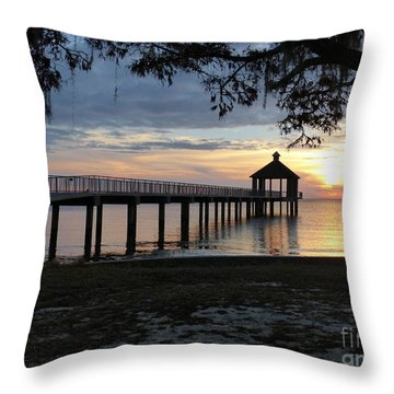 Throw Pillow featuring the photograph Walking Bridge To The Gazebo by Rosanne Licciardi