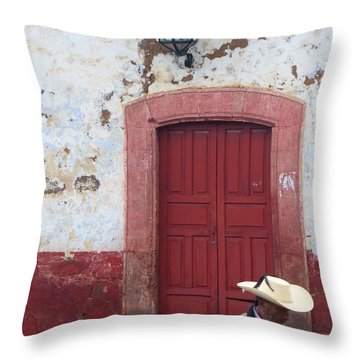 Throw Pillow featuring the photograph Walking By In Patzcuaro by Rosanne Licciardi