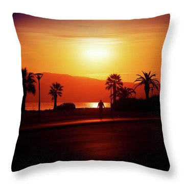 Throw Pillow featuring the photograph Walking Down The Street On Sunset by Milena Ilieva