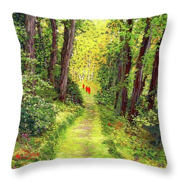Walking Meditation Throw Pillow