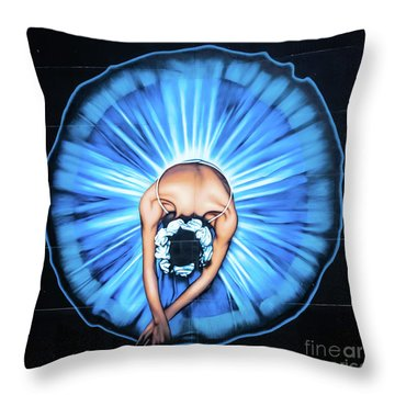 Ballerina Wall Painting, Christchurch, New Zealand Throw Pillow