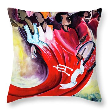 Wall Painting In Fogo, Cape Verde Throw Pillow