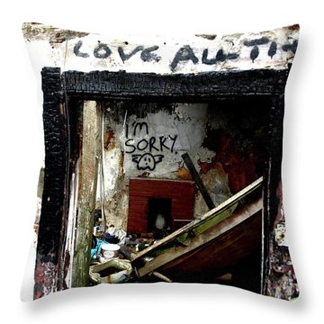 Throw Pillow featuring the photograph Wall, Sorry by Edward Lee