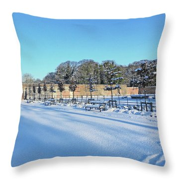 Walled Garden Winter Landscape Throw Pillow