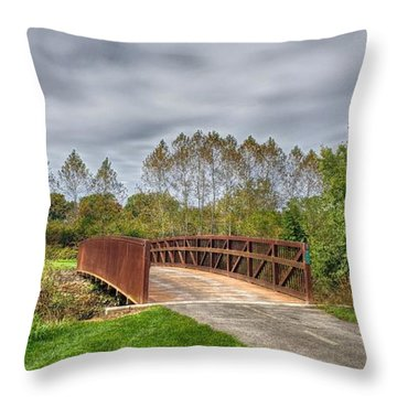Walnut Woods Bridge - 3 Throw Pillow