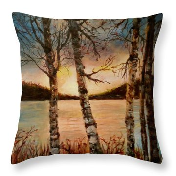 Throw Pillow featuring the painting Warm Fall Day by Sher Nasser