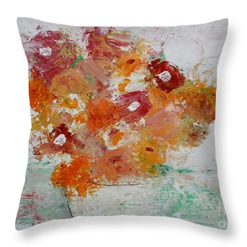 Throw Pillow featuring the painting Warm Floral by Kim Nelson