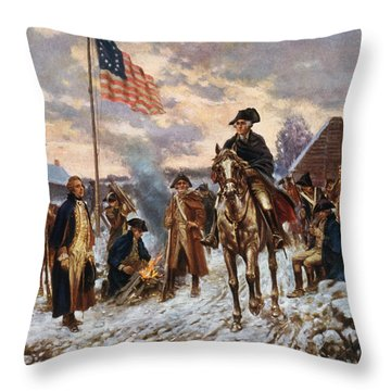 Washington At Valley Forge Throw Pillow
