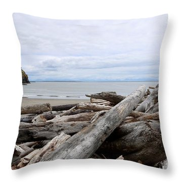 Washington Coastline With Driftwood Throw Pillow