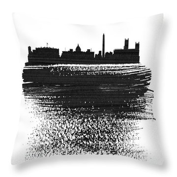 Washington, D.c. Skyline Brush Stroke Black Throw Pillow