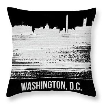 Washington, D.c. Skyline Brush Stroke White Throw Pillow
