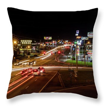 Washington Road At Night - Augusta Ga Throw Pillow