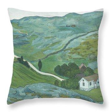Throw Pillow featuring the drawing Waste Land by Ivar Arosenius