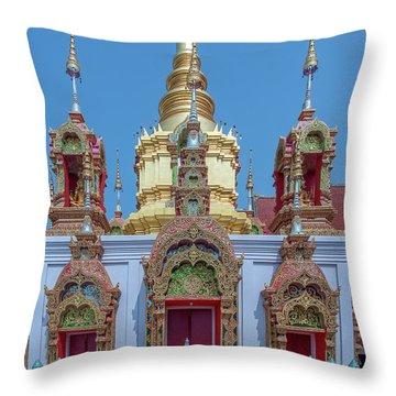 Throw Pillow featuring the photograph Wat Ban Kong Phra That Chedi Base Dthlu0502 by Gerry Gantt