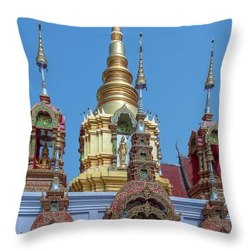 Throw Pillow featuring the photograph Wat Ban Kong Phra That Chedi Brahma And Buddha Images Dthlu0501 by Gerry Gantt