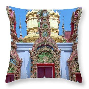 Throw Pillow featuring the photograph Wat Ban Kong Phra That Chedi Windows Dthlu0503 by Gerry Gantt