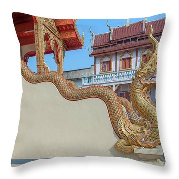 Throw Pillow featuring the photograph Wat Chai Mongkon Phra Ubosot Makara And Naga Guardian Dthlu0396 by Gerry Gantt