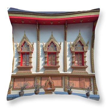 Throw Pillow featuring the photograph Wat Chai Mongkon Phra Ubosot Windows Dthlu0398 by Gerry Gantt