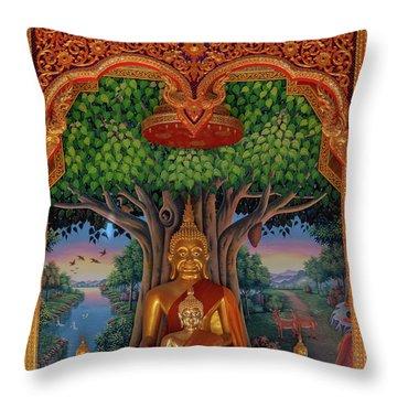 Throw Pillow featuring the photograph Wat Kulek Phra Wihan Buddha Images Dthlu0448 by Gerry Gantt