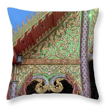 Throw Pillow featuring the photograph Wat Nong Khrop Phra Ubosot Gable Naga Dthcm2666 by Gerry Gantt