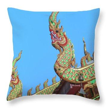 Throw Pillow featuring the photograph Wat Nong Khrop Phra Ubosot Naga Roof Finials Dthcm2665 by Gerry Gantt