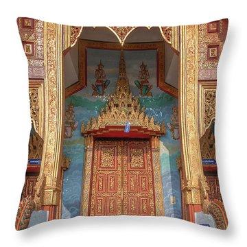 Throw Pillow featuring the photograph Wat Nong Tong Phra Wihan Doors Dthcm2642 by Gerry Gantt
