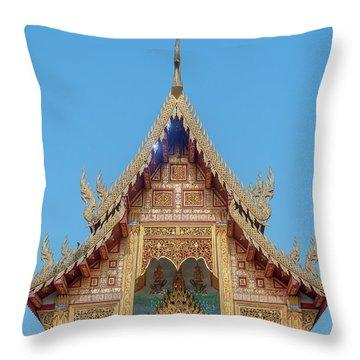 Throw Pillow featuring the photograph Wat Nong Tong Phra Wihan Gable Dthcm2640 by Gerry Gantt