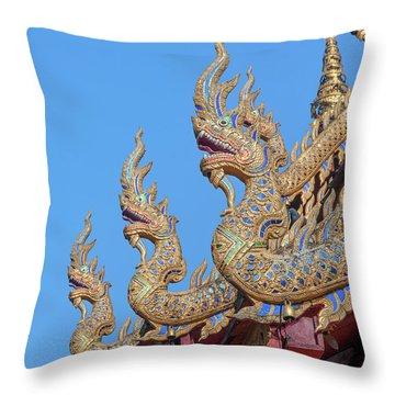 Throw Pillow featuring the photograph Wat Nong Tong Phra Wihan Naga Roof Finials Dthcm2648 by Gerry Gantt
