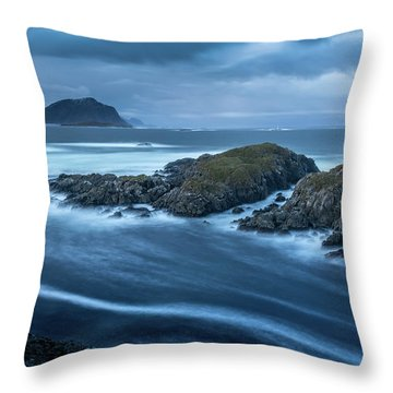 Water Flow At Stormy Sea Throw Pillow